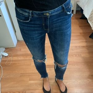 Zara ripped skinny jeans ankle fray zippers